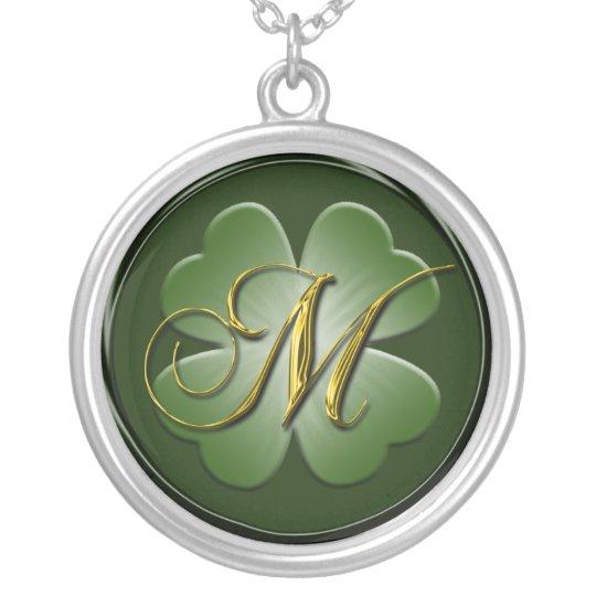 M Black Green Gold Monogram Initial Pendant M