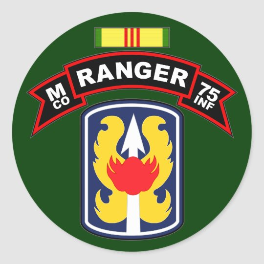 M Co, 75th Infantry Regiment - Rangers, Vietnam Classic Round Sticker