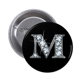 """M"" Diamond Bling Button"