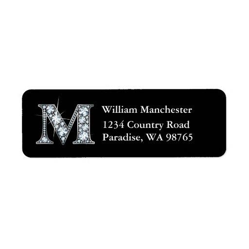 """""""M"""" Diamond Bling Monogram Return Address Label"""