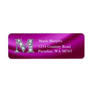 """M """"Diamond"""" Bling Monogram Return Address Label"""