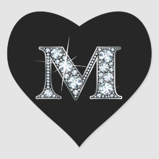 """M"" Diamond Bling on Black Heart Sticker"