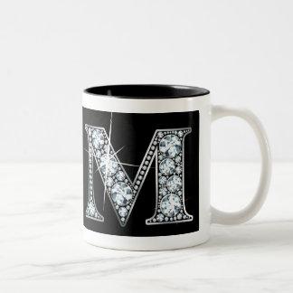 """M"" Diamond Bling on Black Mug"