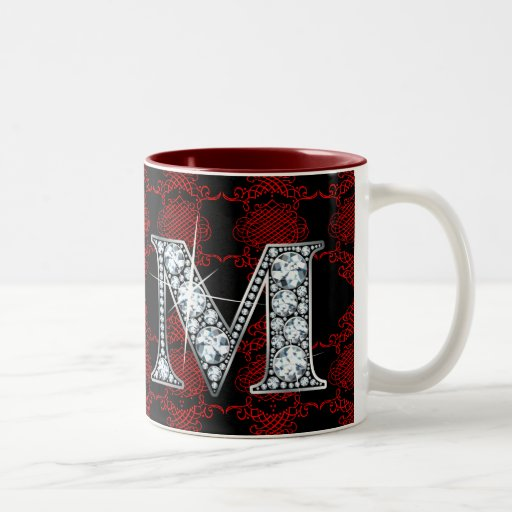 """M"" Diamond Bling on Knotted Damask Mug"