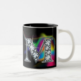 """M"" Diamond Bling on Rainbow Swirl Mug"