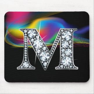 """M"" Diamond Bling with Rainbow Swirl Mousepad"