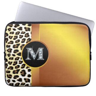 "M ""Diamond"" Gold Leopard & Ribbon Electronics Ba Computer Sleeve"