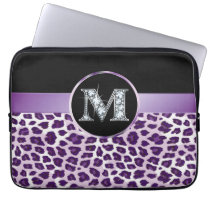 "M ""Diamond"" Purple Leopard & Ribbon Electronics Laptop Sleeve"