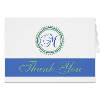 M Dot Circle Monogam Thank You Cards (Blue / Mint)