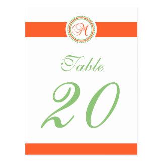 M Dot Circle Monogram Table Number (Orange / Mint) Postcards