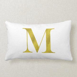M Engravers Monogram Gold Faux Glitter Template Lumbar Pillow