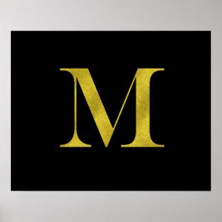 M Engravers Monogram Gold Faux Glitter Template Poster
