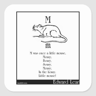 M era una vez un pequeño ratón pegatina cuadrada