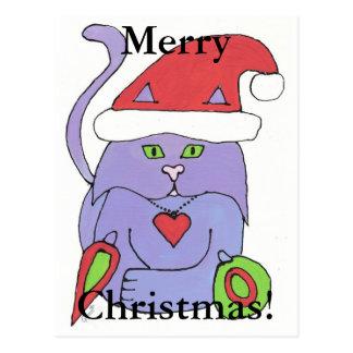 M\erry Christmas Kitty Cat Postcard