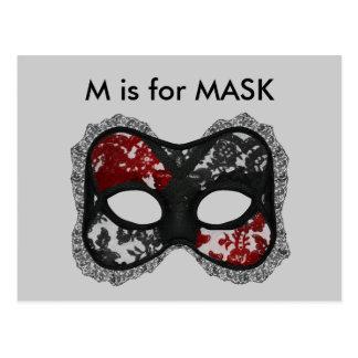 """""""M"""" está para el alfabeto Flashcard de la máscara Tarjetas Postales"""