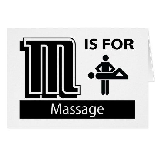 M está para el masaje tarjetas