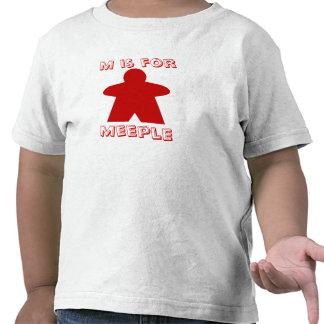 M está para la camisa de los niños de Meeple