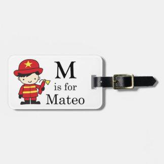 M está para Mateo, F está para el Firetruck Etiquetas Maletas