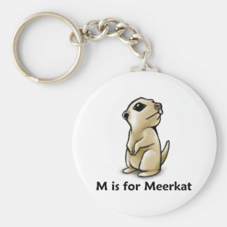 M está para Meerkat Llavero Redondo Tipo Pin
