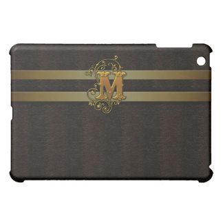M Faux Leather Gold Monogram  Cover For The iPad Mini