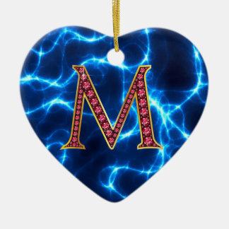"M Faux-""Ruby"" Monogram  With Lightening Ceramic Ornament"