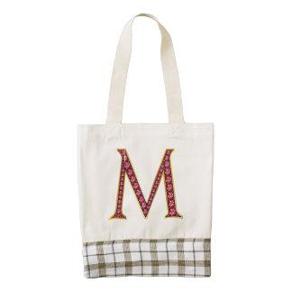 """M Faux-""""Ruby"""" Monogram Zazzle HEART Tote Bag"""