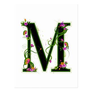 M floral tarjetas postales