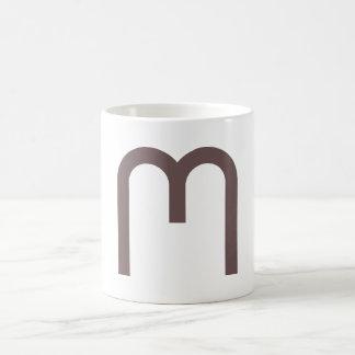 M for alphabet classic white coffee mug