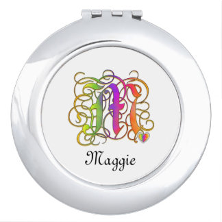 M Gothic Sunshine Mirror Compact with Name
