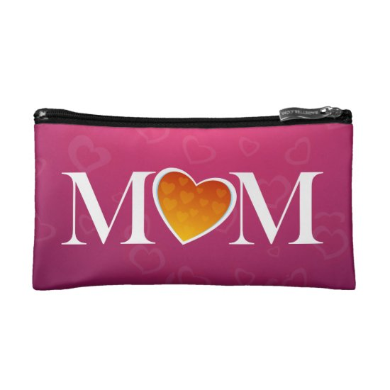 M heart M, Pink/Orange Mom Gift Cosmetic Bag