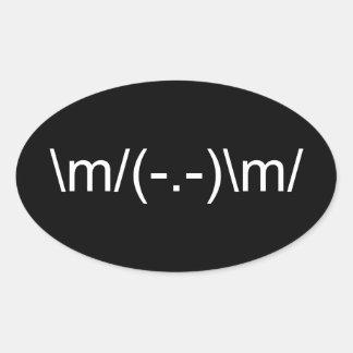 \m/ Horns Up \m/ Oval Sticker