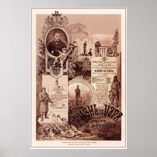 M.I.Glinka. Vida para la ópera rusa 1892 del Tzar Posters