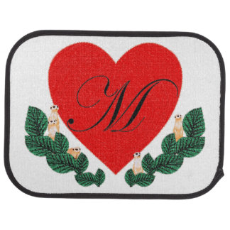 M in a heart car mat
