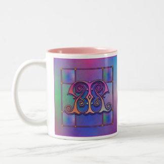 """M Initial """"Blue Rain Glass"""" Mugs Cups Steins"""