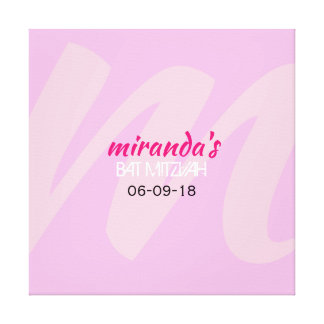 M INITIAL COLLECTION Bat Mitzvah Sign-In Board Canvas Print