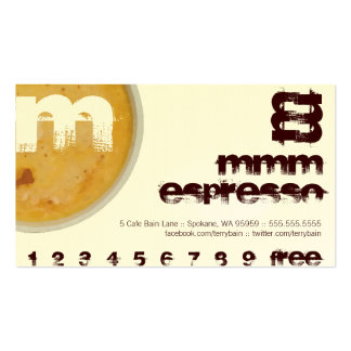 M - Initial Letter Foamy Coffee Cup Loyalty Punch Business Card