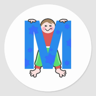 M is for classic round sticker