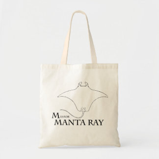 M is for Manta Ray tote bag