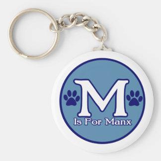 M is For Manx Basic Round Button Keychain