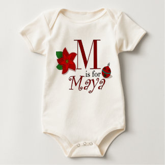 M is for Maya, Baby's First Christmas T-shirt