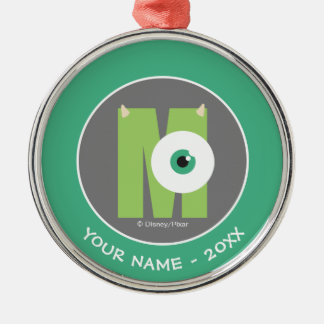 M is for Mike   Add Your Name Metal Ornament