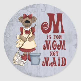 M is for Mom Classic Round Sticker