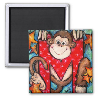 M is for Monkey 2 Inch Square Magnet