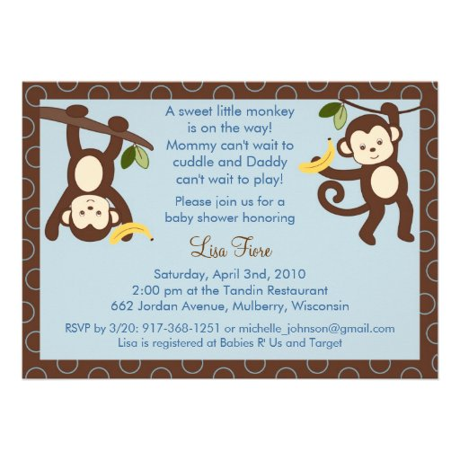 is for monkey jungle baby shower invitations 5 x 7 invitation car