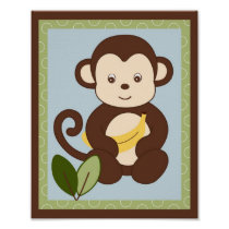 M is for Monkey Jungle Nursery Wall Art Print 8X10