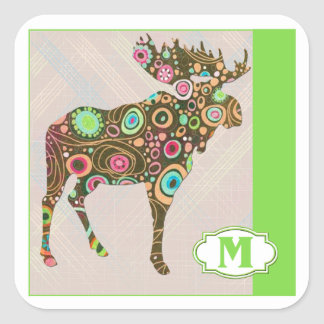 M is for Moose Square Sticker