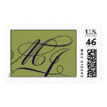 M & J Olive Green and navy monogram Stamps