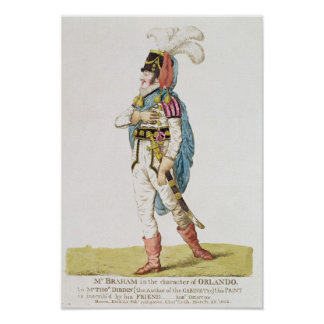 M.John Braham  the character of Orlando, 1802 Poster