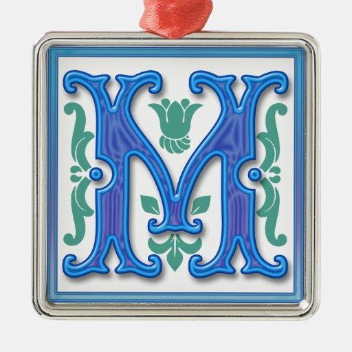 M - Letra M del vintage Adorno Navideño Cuadrado De Metal