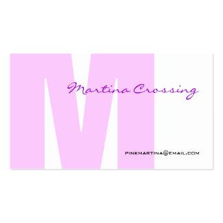 M Letter Alphabet Business Card Pink